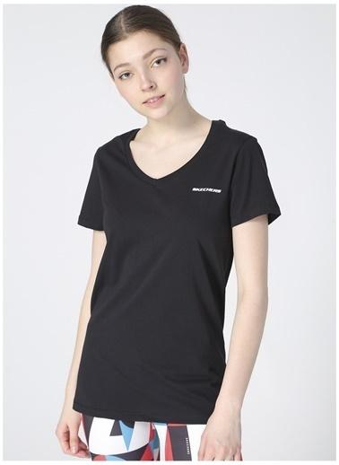 Skechers Skecher Kadın Siyah V Yaka T-Shirt Siyah